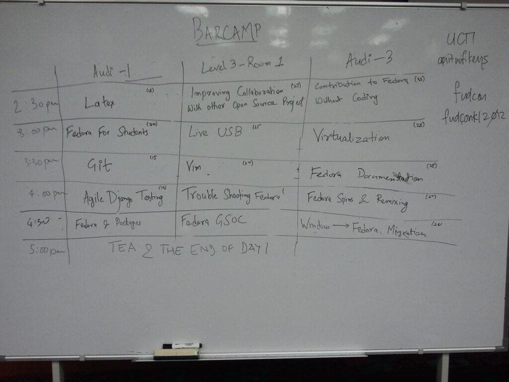 FUDCon Barcamp schedule